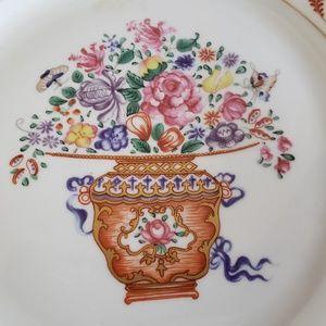 "Mottahedeh Accents - Mottahedeh 8"" square plate flower bouquet rare"